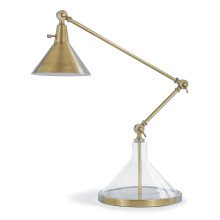 Glass Funnel Beaker Task Lamp, Natural Brass | Gracious Style