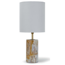 Jade and Brass Mini Cylinder Table Lamp | Gracious Style