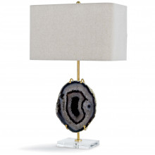 Exhibit Table Lamp, Gold and Smoke Agate | Gracious Style