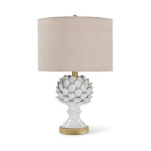 Leafy Artichoke Ceramic Table Lamp, Off White | Gracious Style