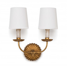 Clove Sconce Double, Antique Gold Leaf | Gracious Style