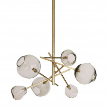 Molten Chandelier With Smoke Glass, Natural Brass | Gracious Style