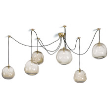 Molten Spider Chandelier Small With Smoke Glass, Natural Brass | Gracious Style