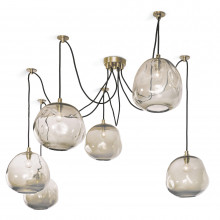 Molten Spider Chandelier Large With Smoke Glass, Natural Brass | Gracious Style