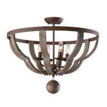 Wooden Quatrefoil Semi Flush Mount | Gracious Style