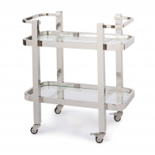 Carter Bar Cart Small, Polished Stainless Steel | Gracious Style