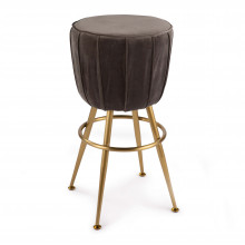Elie Velvet Bar Stool, City Grey | Gracious Style