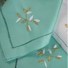 Bagatelle Aqua Embroidered Table Linens | Gracious Style