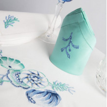 Neptune White and Aqua Embroidered Table Linens | Gracious Style