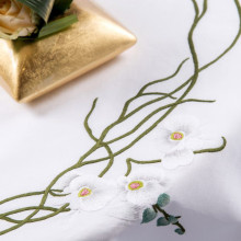 Orchidees White Embroidered Table Linens | Gracious Style