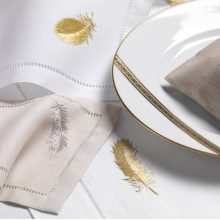 Plumes White and Ivory Embroidered Table Linens | Gracious Style