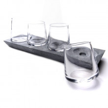 Alpine Whiskey Glass Set of 4 with Soapstone Base | Gracious Style