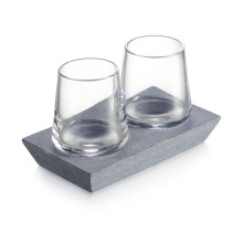Alpine Whiskey Glass Set of 2 with Soapstone Base | Gracious Style