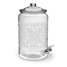 Scroll Cut Acrylic 251 Oz Caravan Etched Beverage Dispenser | Gracious Style
