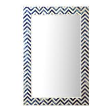 Chevron Indigo Bone Wall Rectangular Mirror - Bone/Glass (Special Order) | Gracious Style