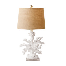White Coral Table Lamp with Burlap Shade and Acrylic Base (UL-listed parts/includes harp and finial/holds standard 100w bulb) - Resin/Burlap/Acrylic | Gracious Style