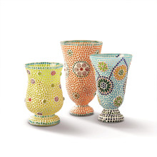 Fiesta Cubana Set of Three Mosaic Candle Holders/Vases Includes 3 Designs - Glass | Gracious Style