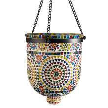 Rio Lights Multi-Color Mosaic Hanging Lantern - Cement/Glass/Metal | Gracious Style
