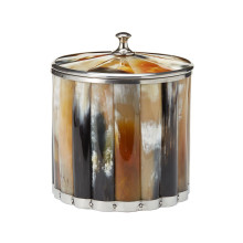 Genuine Horn Ice Bucket with Lid (color variation is natural characteristic of material) - Naturally Shed Horn/Stainless Steel | Gracious Style