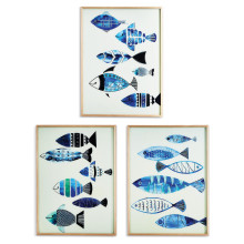 Aegean Sea Set of Three Fish Wall Art with Metallic Silver Detail - Wood Veneer/MDF/Paper/PS/Glass (Special Order) | Gracious Style