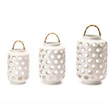 White Lattice Set of Three Lanterns with Bamboo Handle Includes 3 Sizes - Ceramic/Bamboo/Metal | Gracious Style