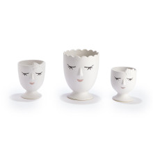 Margaux Set of Three Planter Includes 3 Designs/Sizes: Flowers/Small, Bow/Medium, Scalloped/Large - Porcelain | Gracious Style