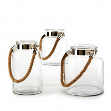 Clear View Set of Three Lanterns with Rope Handle Includes 3 Shapes/Sizes - Glass/Nickel Plated Iron/Jute | Gracious Style