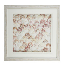 Natural Fan Shell Wall Art in White Distressed Shadowbox Frame - Fan Shell/PS/Glass/Cardboard | Gracious Style