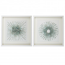 Starburst Set of Two Aventurine Stones Wall Art in Matted White Shadowbox Frame Includes 2 Designs - Stone/PS/Glass/Cardboard | Gracious Style