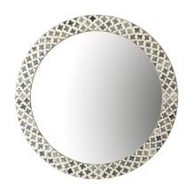 Slate Quatrefoil Round Wall Mirror - Bone/Iron/Resin/Glass/MDF (Special Order) | Gracious Style