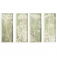 White Lace Set of Four Botanical Wall Art - Fir Wood/Glass/MDF/Paper (Special Order) | Gracious Style