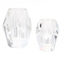 Facets Set of Two Vases - Crystal Clear Glass | Gracious Style