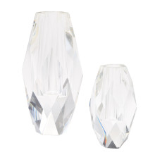 Oval Faceted Set of Two Vases - Crystal Clear Glass (Special Order) | Gracious Style