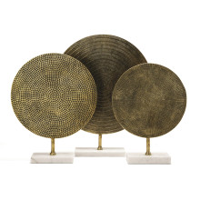 Set of Three Textured Metal Sculptures on White Marble Base Incudes 3 Designs/Sizes - Aluminum/Marble/Rubber (Special Order) | Gracious Style