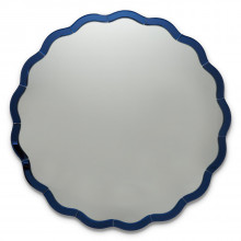 Blue Scallop Wall Round Mirror - Glass/MDF (Special Order) | Gracious Style