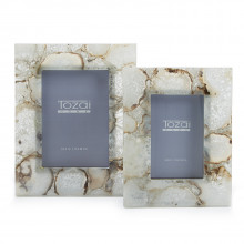 """Natural Agate Set of Two Photo Frames in Gift Box Includes 2 Sizes: 4"""" x 6"""" and 5"""" x 7"""" (stands horizontally/vertically) - Genuine Agate/Iron/Glass/MDF 