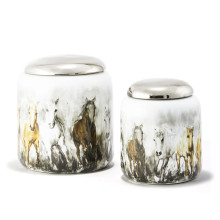 Wild Horses Set of Two Covered Jars with Silver Metallic Lid - Porcelain/Stainless Steel | Gracious Style