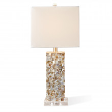 Mother of Pearl Squares Table Lamp with Shade (UL-listed parts/includes harp and finial/uses standard 60w bulb not included) - Mother of Pearl/Jute/Glass (Special Order) | Gracious Style