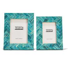 Chevron Set of Two Verdigris Mosaic Frames w Brass Studs Bone/Glass/MDF | Gracious Style