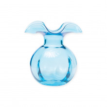Hibiscus Glass Aqua Bud Vase - 5 in. d, 5.5 in. h