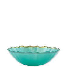 Baroque Glass Aqua Small Bowl - 6.75 in. d, 2 in. h | Gracious Style