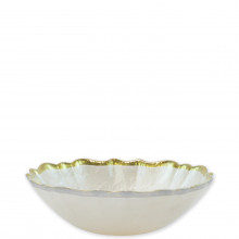 Baroque Glass White Small Bowl - 6.75 in. d, 2 in. h | Gracious Style