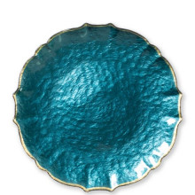 Baroque Glass Teal Dinnerware | Gracious Style