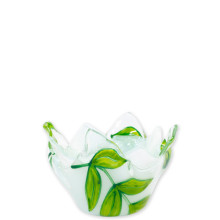 Glass Votives Green Leaves Votive - 4.25 in. d, 3 in. h | Gracious Style