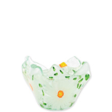 Glass Votives White Flowers Votive - 4.25 in. d, 3 in. h | Gracious Style