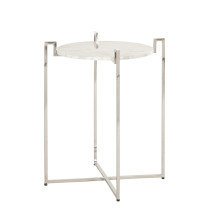 Nickel Side Table With Greek Key Detail and White Marble Top | Gracious Style