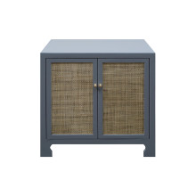 Cane Cabinet With Brass Hardware In Grey Lacquer | Gracious Style