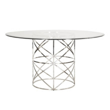 Nickel Leaf X Motif Dining Table | Gracious Style