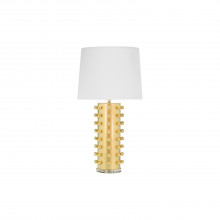 Ball Studded Lamp With White Linen Shade In Gold Leaf | Gracious Style