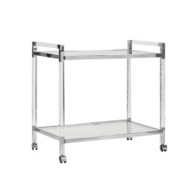 Acrylic Bar Cart With Nickel Hardware | Gracious Style